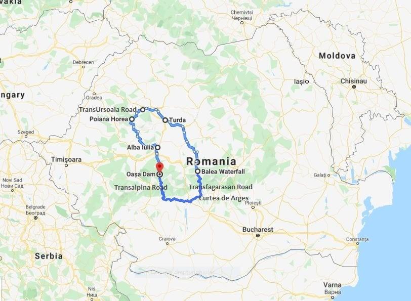 Motorcycle short break tour map