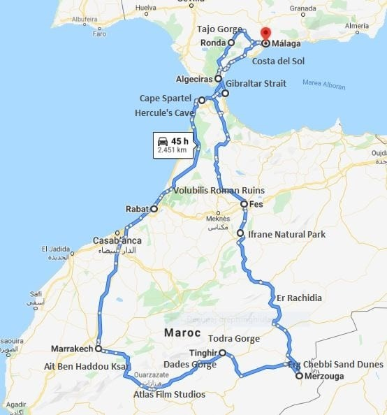 Morocco-motorcycle-tour-map