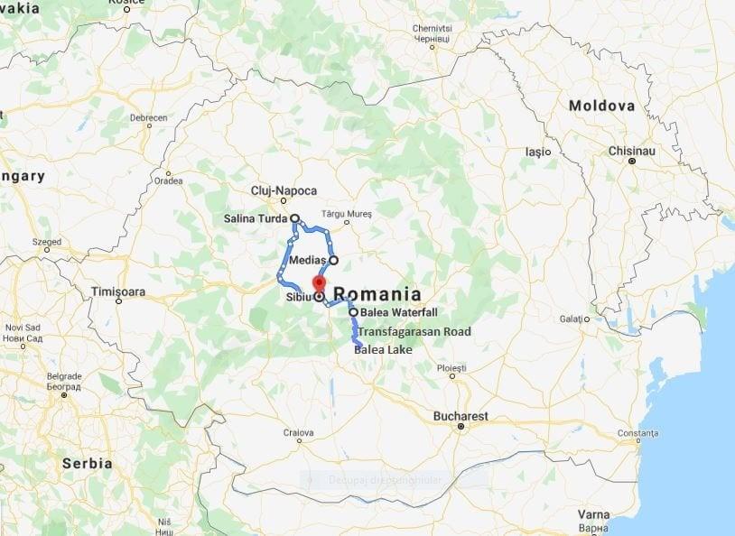 Transfagarasan road tour map