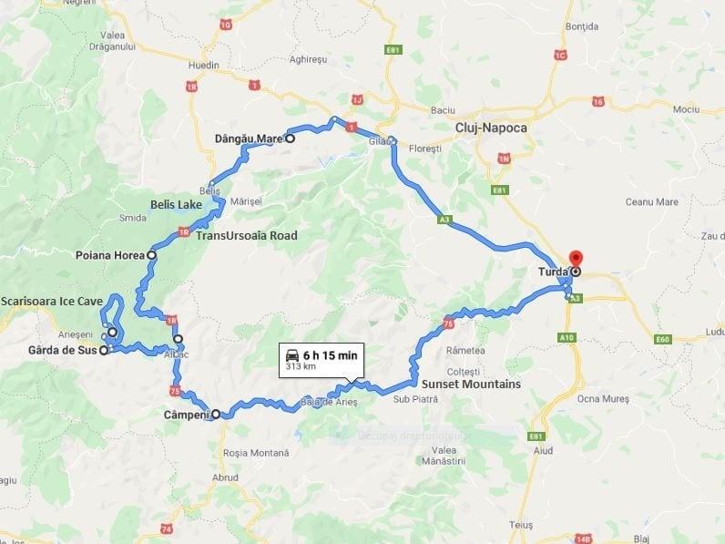Transuroaia Tour map