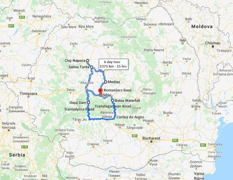 Romaniacs Tour map